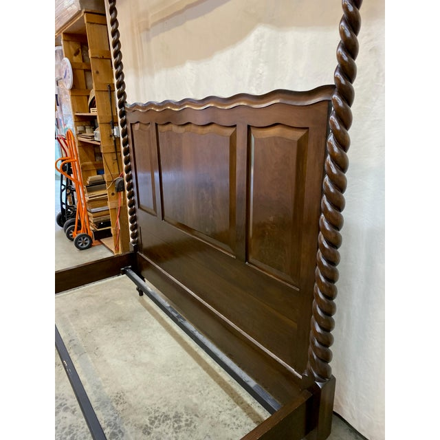 Wood Traditional Dessin Fournir/Kerry Joyce Barley Twist Cal King Bedframe For Sale - Image 7 of 12