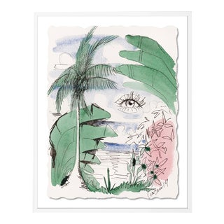 Green Pink Blue Jungle by Lia Burke Libaire in White Frame, Medium Art Print For Sale