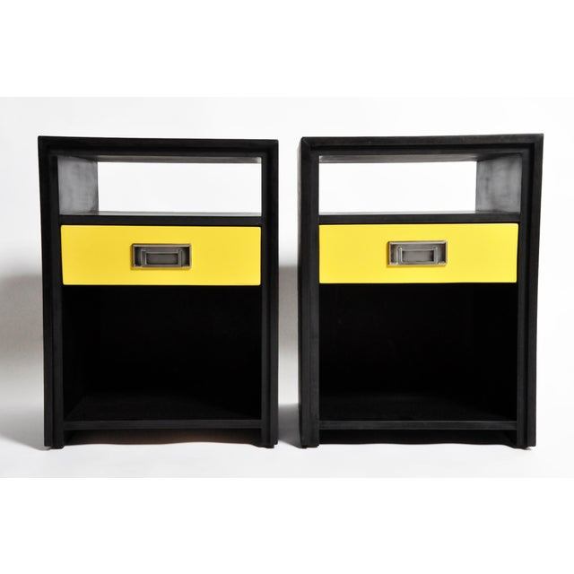 Gtc2 Pair of Campaign Bedside Chests by the Golden Triangle Chicago For Sale - Image 13 of 13