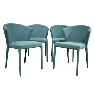 Turquoise Calligaris Dining Chairs - Set of 4 For Sale