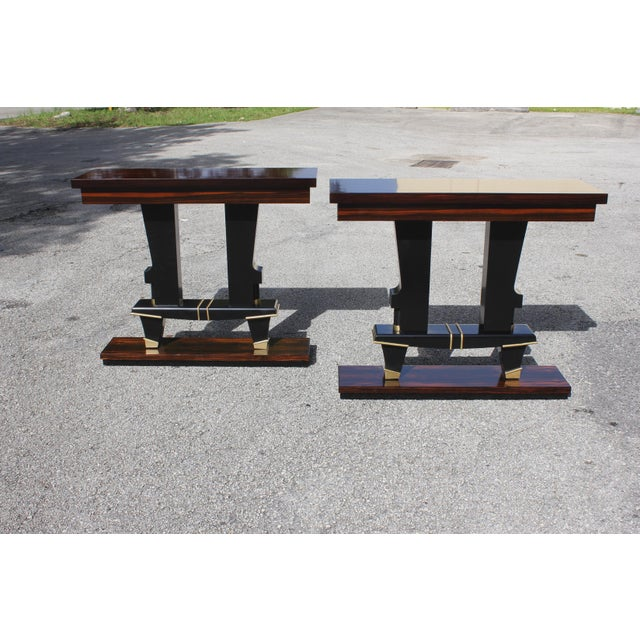 1940s Classic Pair of French Art Deco Exotic Macassar Ebony Console Tables, Circa 1940s For Sale - Image 5 of 13