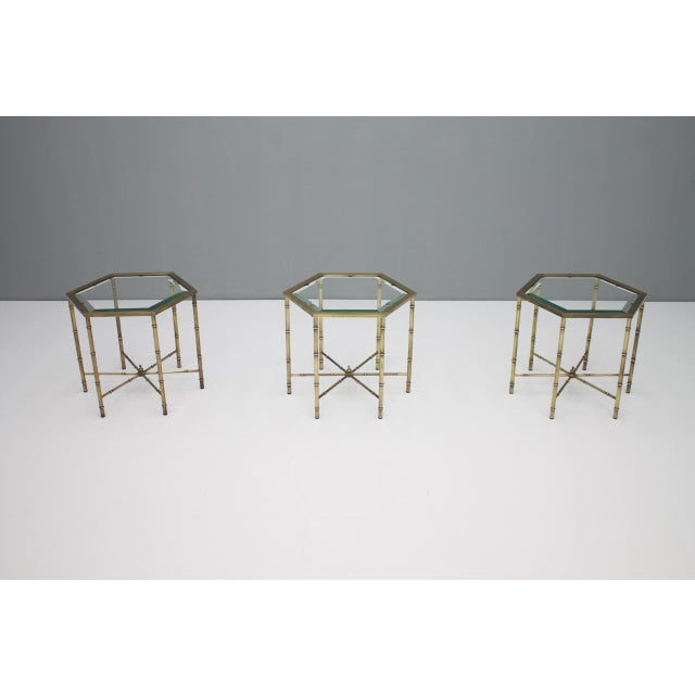 Set of Three Octagonal Side Table in Brass and Glass, 1970s For Sale - Image 6 of 12