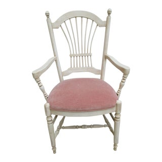 Ethan Allen Country French Paint Decorated Fan Back Dining Chair