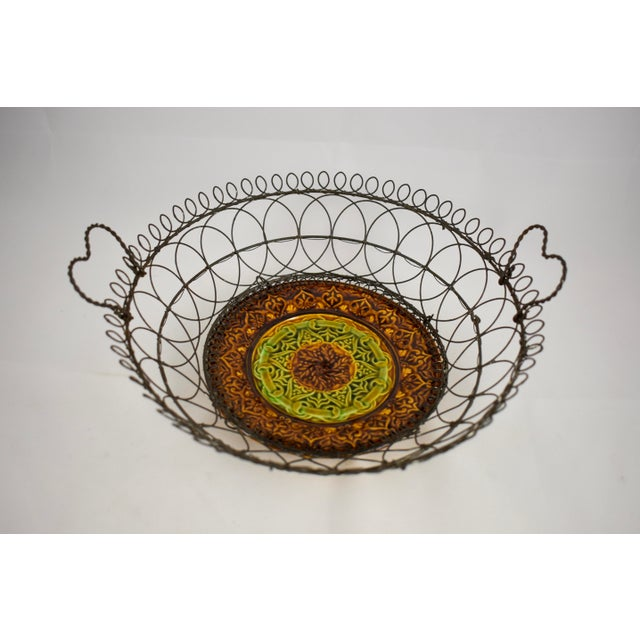 Rustic Villeroy & Boch Majolica & Heart Handled Wire Basket For Sale - Image 3 of 10