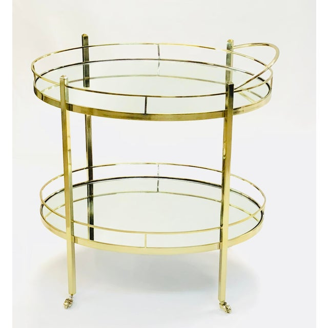 Contemporary Brass Wine/Tea Cart For Sale - Image 4 of 4