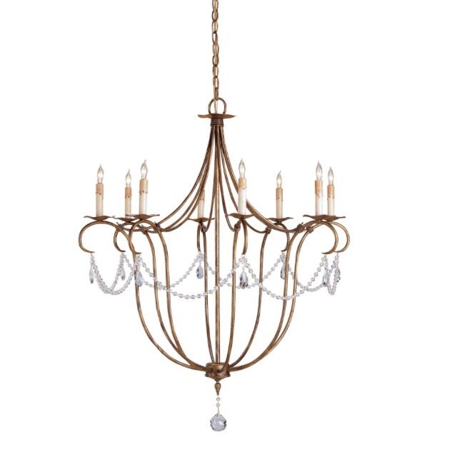 Gold & Crystal Draped Chandelier - Image 1 of 4