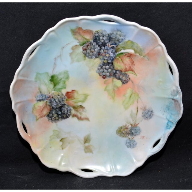Handpainted Blackberry Plate For Sale - Image 5 of 5