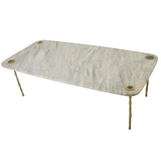 Mid Century Mexican Modernist Coffee Table in Marble Brass & Malachite by Pepe Mendoza For Sale