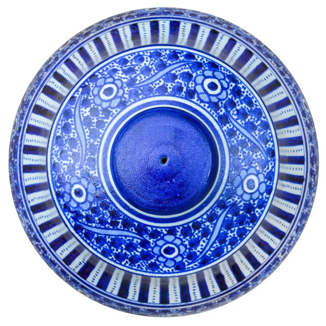 Islamic Handmade Moroccan Ceramic Urn W/ Blues For Sale - Image 3 of 4