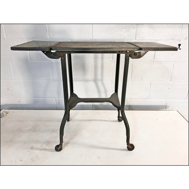 Vintage Industrial Green Typewriter Table with Double Drop Leaf - Image 8 of 13