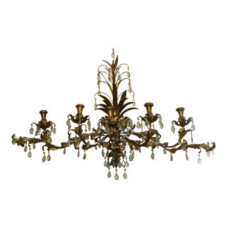 Vintage Italian Tole Wall Candelabra Sconce For Sale