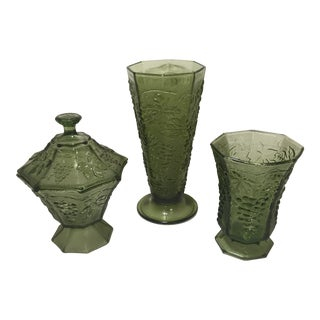 Indiana Glass Grape Green Vases & Candy Dish - Set of 3 For Sale