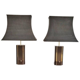 Pair of Chocolate Laminate Table Lamps with Brass Accents, France, 1970s For Sale