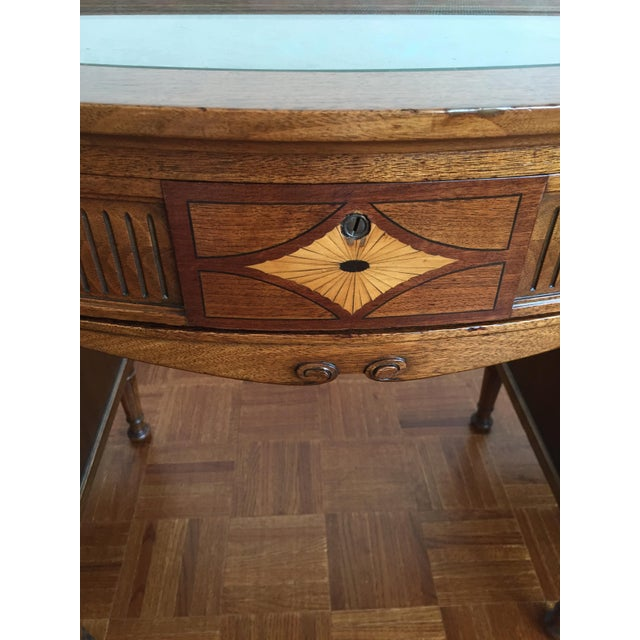 Bow Front Tapestry Top Inlaid Wooden Writing Desk - Image 6 of 10