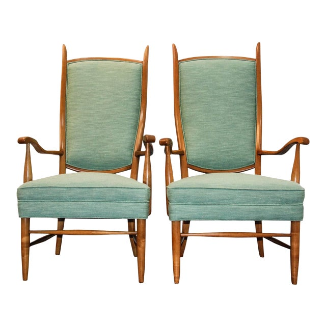 1950's Maxwell Royal American Designed High Back Upholstered Chairs - a Pair For Sale