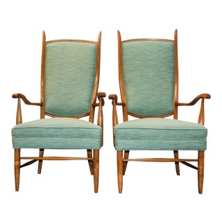 1950's Paolo Buffa and Edward Wormley Style Swedish High Back Upholstered Chairs - A Pair