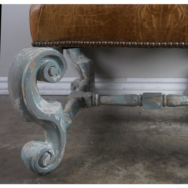 Pair of French Painted Benches With Leather Upholstery For Sale - Image 9 of 12