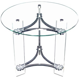 Round Glass Chrome & Lucite Occasional Side End Table Stand Charles Hollis Jones For Sale