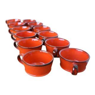 Twelve Vintage Ceramic Coffee Cups - Burnt Orange/ Red Tea Cups