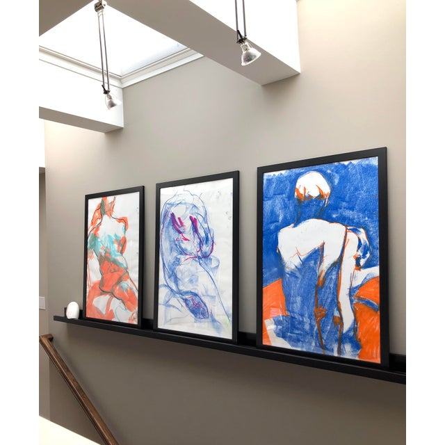 """Contemporary Figure Drawing in Blue and Orange Pastel, """"Seated Figure in Blue and Orange"""" by Artist David O. Smith For Sale In Seattle - Image 6 of 11"""