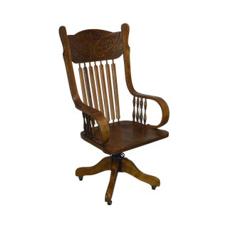 Antique Victorian Press Back Swivel Office Chair For Sale