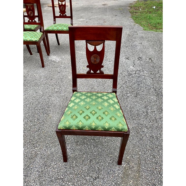 Green 1910s French Empire Solid Mahogany Dining Chairs - Set of 6 For Sale - Image 8 of 13
