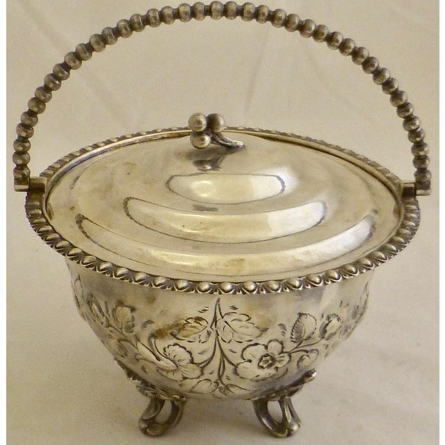 Art Nouveau Silver Plated Covered Bowl w. Floral Decoration For Sale - Image 10 of 13