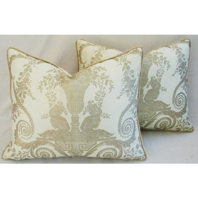 Custom Italian Fortuny Lamballe Pillows - Pair - Image 8 of 11