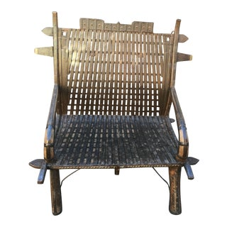 India Teak Wood & Iron Bench For Sale