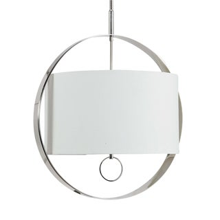 Regina Andrew Modern Large Drum Shade Polished Nickel Derby Chandelier For Sale