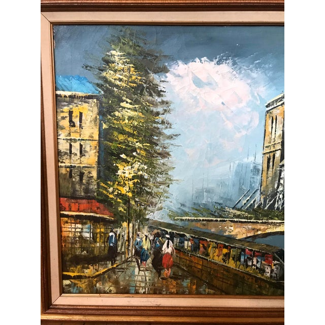 Late 20th Century Notre Dame and the Seine Framed Oil on Canvas Painting For Sale In Chicago - Image 6 of 10