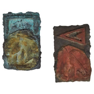 Brutalist Cast Bronze Plaques - a Pair For Sale