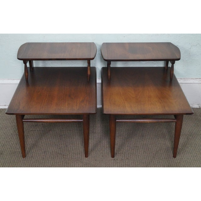 Store Item #: 14786 Mid Century Modern Pair of 2 Tier Step End Tables by Bassett AGE/COUNTRY OF ORIGIN: Approx 50 years,...