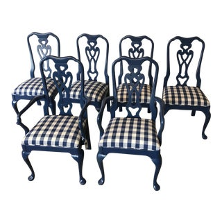 Farrow & Ball Gingham Upholstered Dining Chairs - Set of 6