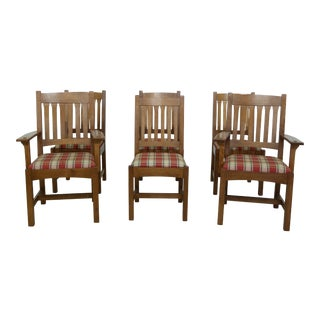 Set of 6 Stickley Mission Oak Arts & Crafts Dining Room Chairs For Sale