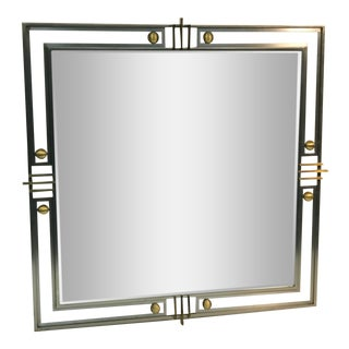 Gorgeous Modern Mirror with Brass Accents and an Unusual Design