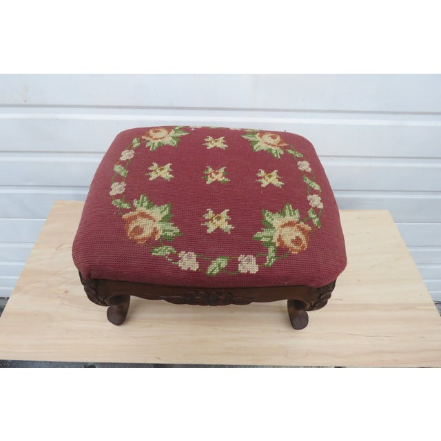 French Carved Needlepoint Tapestry Small Ottoman Footstool Bench For Sale - Image 11 of 13
