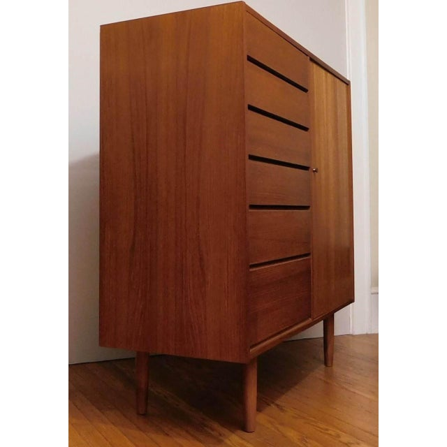 Contemporary Danish Modern Uldum Mobler Teak Gentlemans Tallboy Chest Dresser For Sale - Image 3 of 9