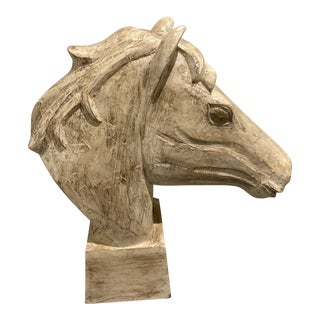 Vintage Wooden Horse Head Statue For Sale