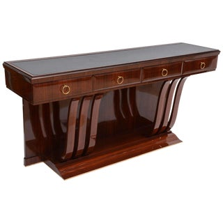 Fine Italian Modern Mahogany, Brass and Glass Console by Osvaldo Borsani For Sale