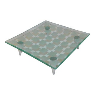 Late 20th Century Contemporary Frosted Square Glass Tidbit Tray For Sale