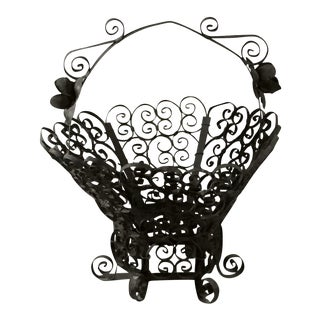 Spanish Gothic Black Wrought Iron Footed Basket