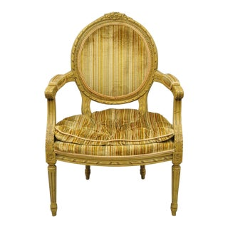 Drexel Heritage French Louis XVI Style Carved Wood Armchair For Sale