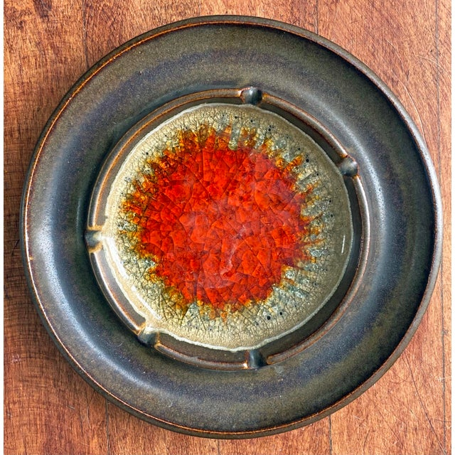Mid-Century Modern 1970s Robert Maxwell Ashtray With Blenko Crushed Glass For Sale - Image 3 of 3