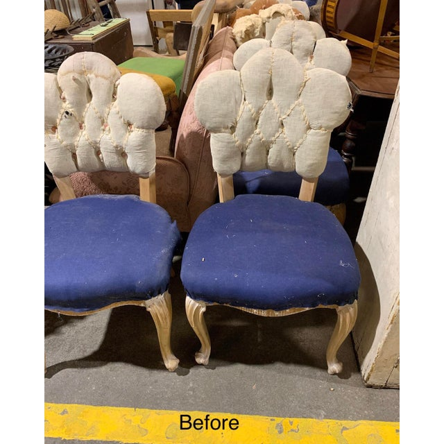 19th Century Antique Bohemian Tufted Rococo Dining Side Chairs Cabriole Legs - Set of 6 Mohair With Designers Guild Floral Print For Sale - Image 12 of 13