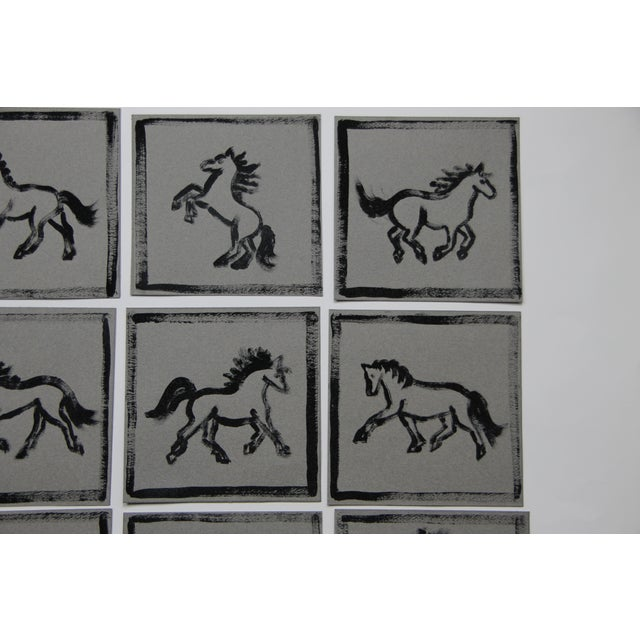 Cleo Plowden Minimalist Horse Paintings Set of 9 by Cleo Plowden For Sale - Image 4 of 8