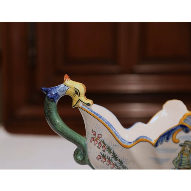 19th Century French Hand Painted Faience Oval Jardinière Signed Henriot Quimper For Sale - Image 9 of 11