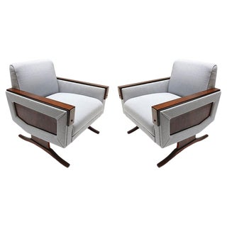 Brazilian Jacaranda Wood and Gray Upholstery Armchairs - a Pair For Sale