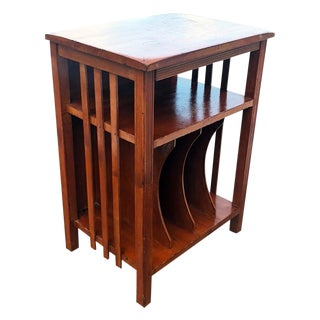 1930s Arts & Crafts Walnut Vinyl Record Cabinet Accent Table For Sale