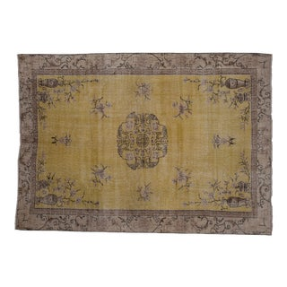 Early 19th Century Antique Chinese Art Deco Area Rug With Floral Border- 6'4'' X 8'10'' For Sale